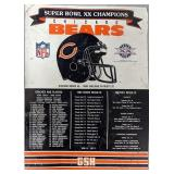 Tin Chicago Bears Super Bowl XX Champs Sign,