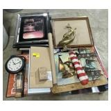 Lot of picture frames, clock, American flag,