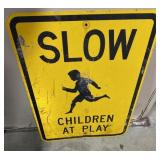 Show children at play single sided sign