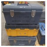 Lot of 3 Stack-On Plastic Toolboxes