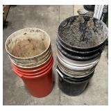 Lot of various sized buckets