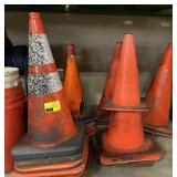 Lot of various sized orange cones