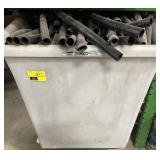 Plastic cart filled with black piping