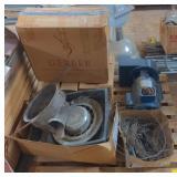Pallet w/ Baldor Motor, Gerber Toilet Tank, and