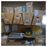 Shelves w/ Various Toilet Bases, Toilet Tanks,