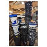 Lot of Empty 5gal Buckets & Trash Bin