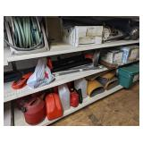 Shelving Cont Incl Hose Reel, Weed Whacker, Skiis,