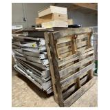 Lot of metal shelves, wooden wine boxes, crates
