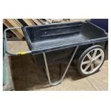 Black plastic cart on wheels