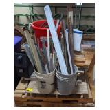 Pallet of Metal Trim, Hoses, Short Wood Planks &