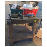 Wooden Work Bench w/Contents