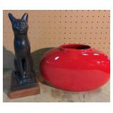 Lot w/Decorative Art Cat & Haeger planter
