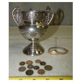 S  Silver Vase, Watch and Coins
