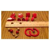 OF LOT OF RED EARRINGS, 7 PR TOTAL