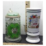 E3 LOT OF 2 VINTAGE GERMAN BEER STEINS, CLEAR