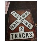 Sc19 railroad crossingtin sign 16 x 12 and a half