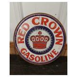 Sc19 Red Crown gasoline tin sign 12in round
