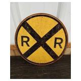 Sc19 railroad crossing  tin sign 12in round