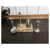 Q1 lot metal candlesticks and serving spoons