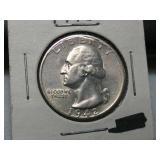 High grade 1942 S silver Washington quarter,