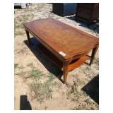 ZN coffee table with leather inlay 40 in wide