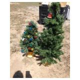 ZN two small Christmas trees 1) 32 in tall 1) 42