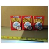Three packs of new sealed Fleer 1991 baseball