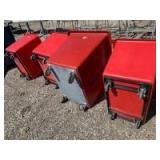 4 rolling trash bins