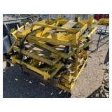 Numerous steel carts with casters