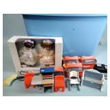 Dolls, View Masters, Little Tikes doll furniture,