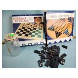Checkers, Chinese checkers, dominoes