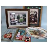 Framed pictures, serving trays, playing cards