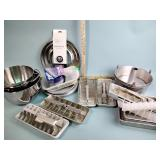 Baking pans, ice cube trays, stainless mixing
