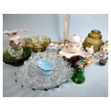 Glassware, kitchen canister, figurines, pitcher,