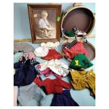 Vintage doll clothes, doll luggage, picture