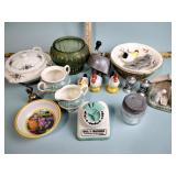 Glassware, bowls, cup & saucer, figurines,