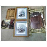 Framed prints, mirror