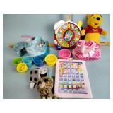 Toys, plush animals, markers