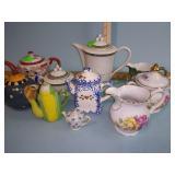 Teapots, creamers, sugar bowl