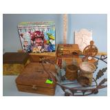 Cigar boxes, Johnny Appleseed festival plaque,
