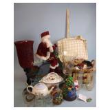 Decor including Christmas, teapot, baskets, and