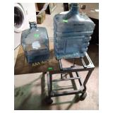 Saw table, water jugs