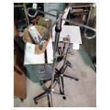 IV bag holders, rolling table, basket, 2-drawer