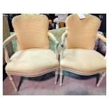 Pair armchairs worn upholstery and paint