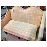 """Wing back loveseat worn upholstery. 42""""h x 60""""w x"""