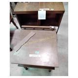 "Small shelf 27""h x 26""w x 9""d & broken end table"