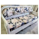 """Wicker sofa with cushions 36""""h x 75""""l x 26d"""