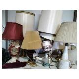 12 Table lamps & wall sconce