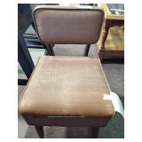 Sewing chair seat off hinges, stained