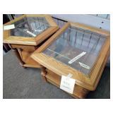 """2 oak glass top end tables. 21""""h x 22""""w x 27""""d &"""